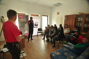 Local guides training in the visitors centre in Armeniş, Southern Carpathians, Romania.