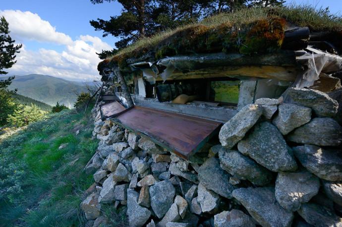 Wildlife watching hide in Rhodope Mountains rewilding area, Bulgaria.