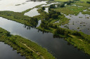 PPeene river and flooded lands near Anklamer Stadtbruch, Germany, Oder Delta rewilding area
