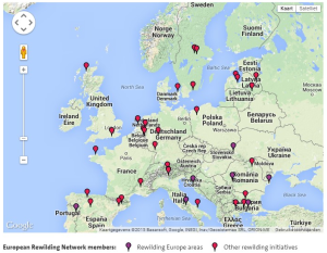 Map showing European Rewilding Network (ERN) members and rewilding areas.