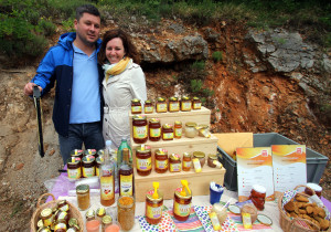 Ines and Sanjin Žarković presenting their family owned business and products in Velebit Mountain rewilding area, Croatia.