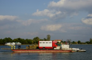 The barge loaded with the lorry transporting the cattle to Sfântu Gheorghe, Romania.
