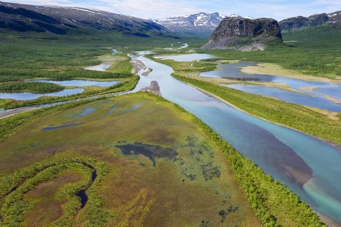 The famous Rapa river delta, Sarek National Park, Lapland