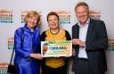 Lena Lindén, Board member of Rewilding Europe (left) and Frans Schepers, Managing Director of Rewilding Europe (right), receiving the donation cheque from Margriet Schreuders, Head of Charity of the Dutch Postcode Lottery, in January 2016.