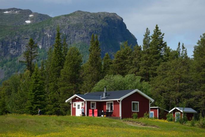 A village near the Årrenjarka lodge near Kvikkjokk, Lapland, Sweden.