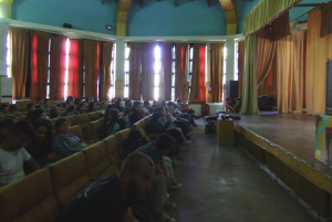 "Children watching the documentary ""Tarpans - repainting an ancient picture"" as part of Earth Day celebration, Kardzhali, Bulgaria."