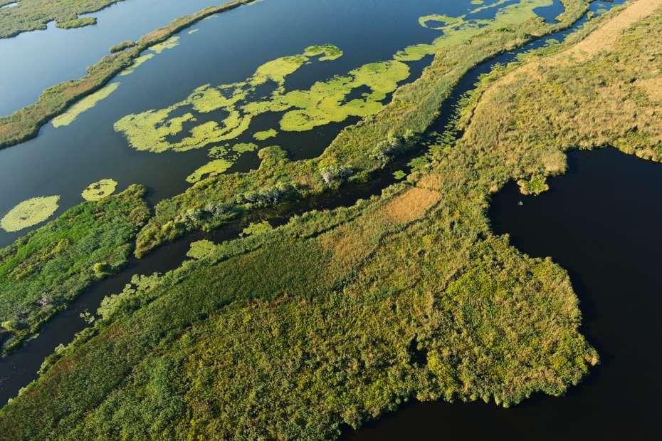 Aerials view of the Danube Delta, Romania