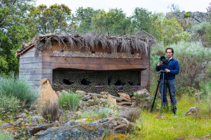 The owner of Wildlife Portugal, Fernando Romão, at his wildlife watching hide in northern Portugal's Côa Valley. Wildlife Portugal is another of the cluster of small businesses in and around Faia Brava that has received a loan from Rewilding Europe Capital.