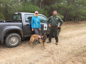 Ela and Kiko with a representative of the Alexandroupolis Hunting Club, which was instrumental in alerting the team to the presence of a poisoned carcass.